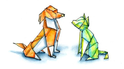 Origami Dog And Cat Watercolor Illustration