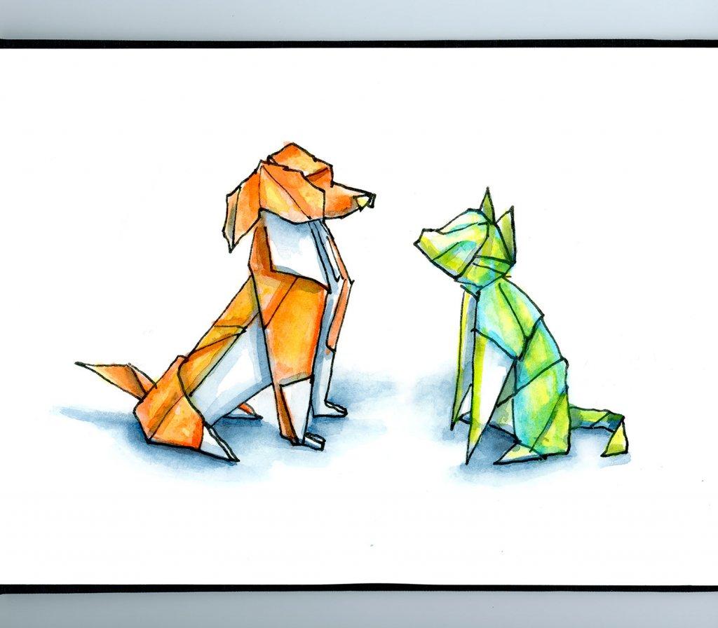 Origami Dog And Cat Watercolor Illustration Sketchbook Detail