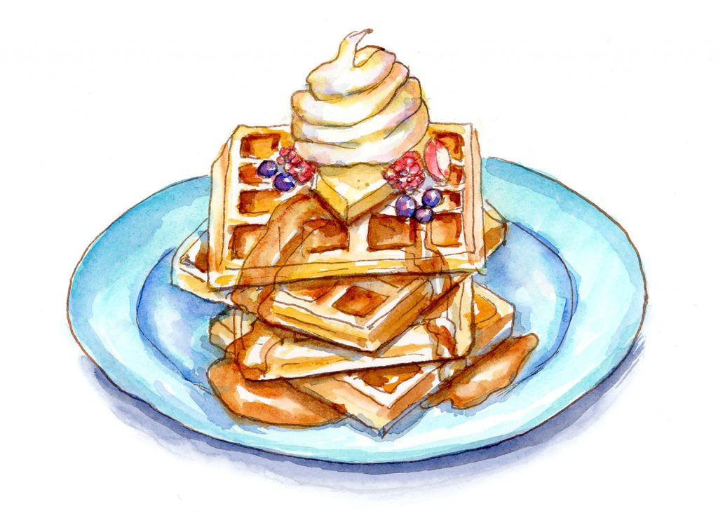 Stack Of Waffles Watercolor Illustration