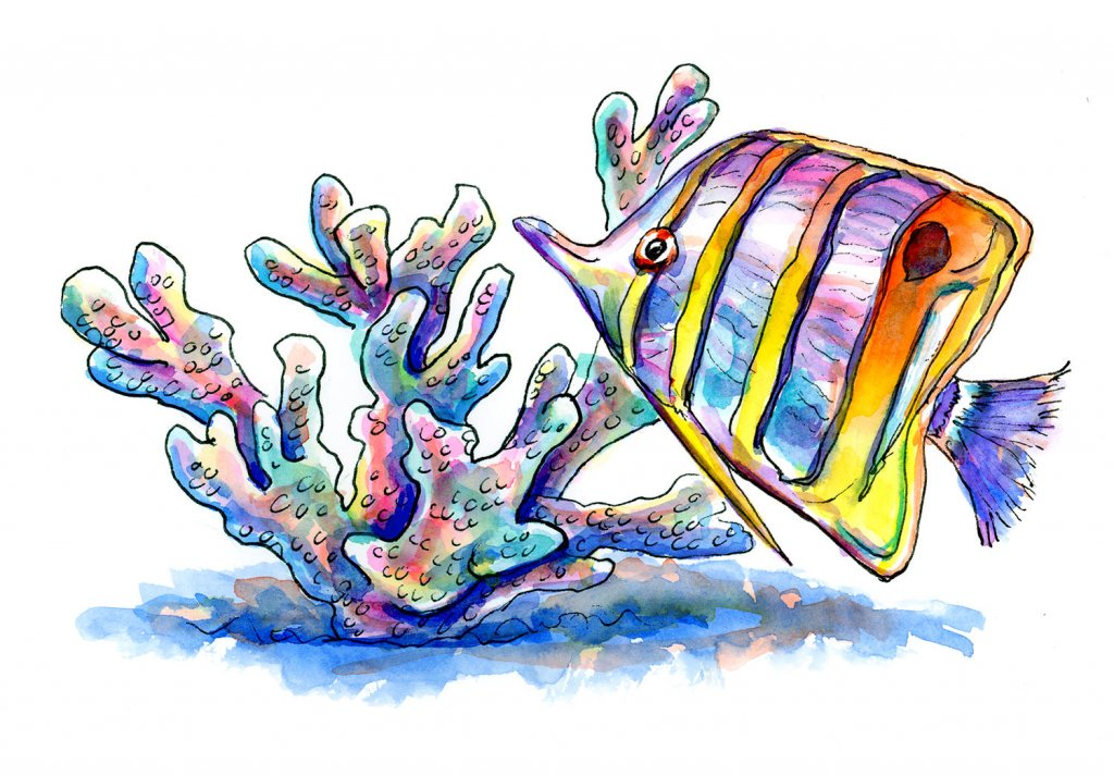 Butterfly Fish And Coral Watercolor Painting