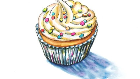Cupcake With Sprinkles Watercolor Painting