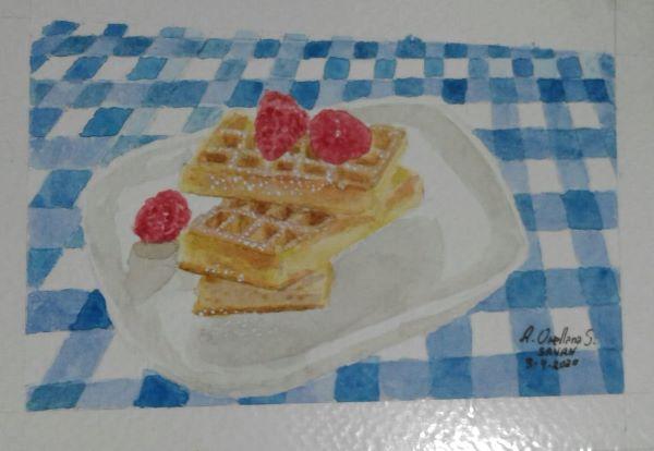 Dia 3. Waffles – #doodlewashMarch2020 Desafío: @doodlewashed Obra: s/n Artista: @sanan_arte T