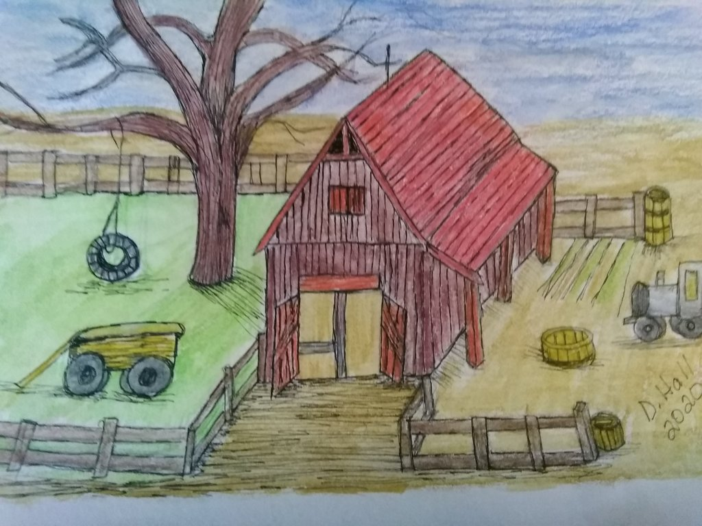 Doodlrwashapril2020 Day 2 farm Used Canson Mix Media sketchbook with Albert Durer watercolor pencils