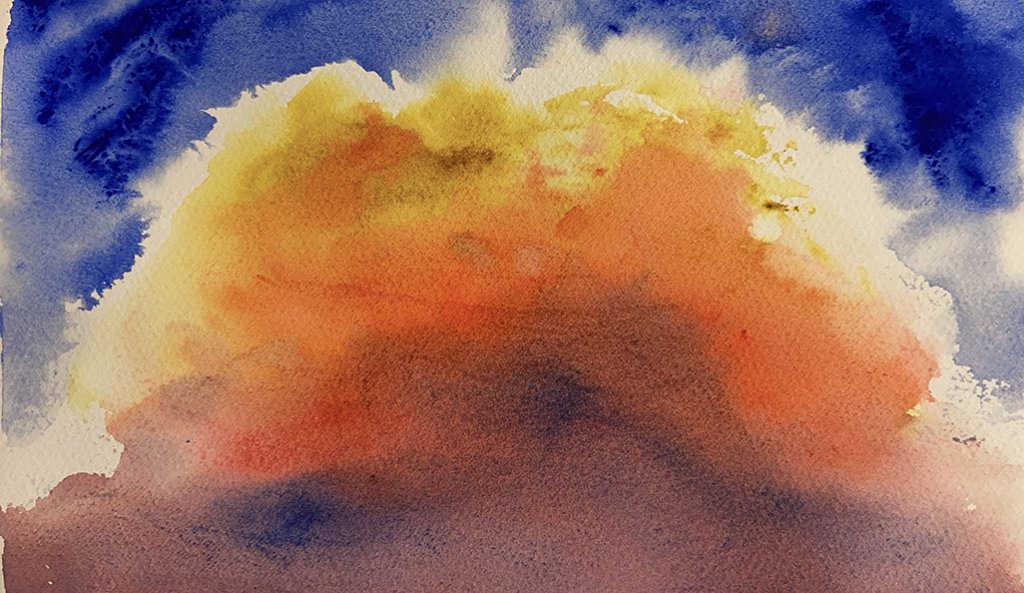 Jennifer Roberts Wateroclor Painting Golden Clouds Sky