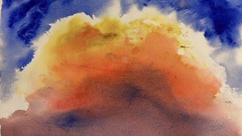 Jennifer Roberts Wateroclor Painting Golden Clouds Sky