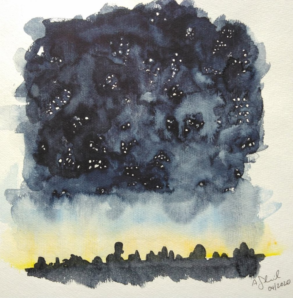 day 28: stars. Needs some practice. #doodlewashApril2020_28stars