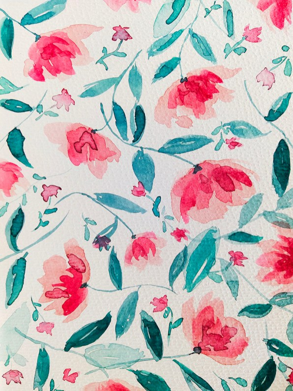 Foral Watercolor Print Pink and Teal Gnadia Art