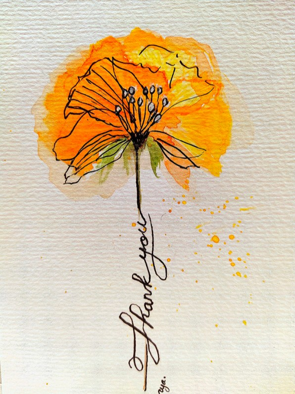 Yellow Flower Watercolor by Natalia Budihardjo
