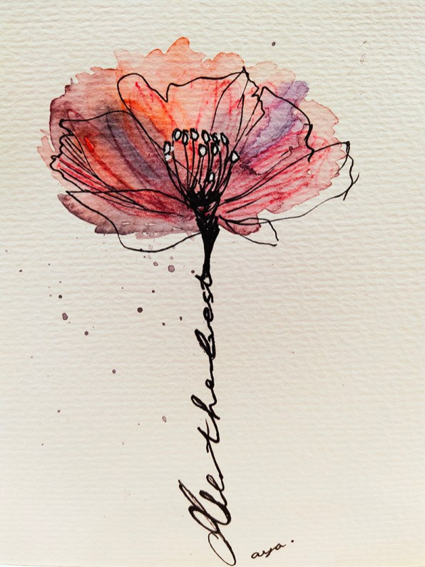 Indigo and Pink Flower Watercolor by Natalia Budihardjo