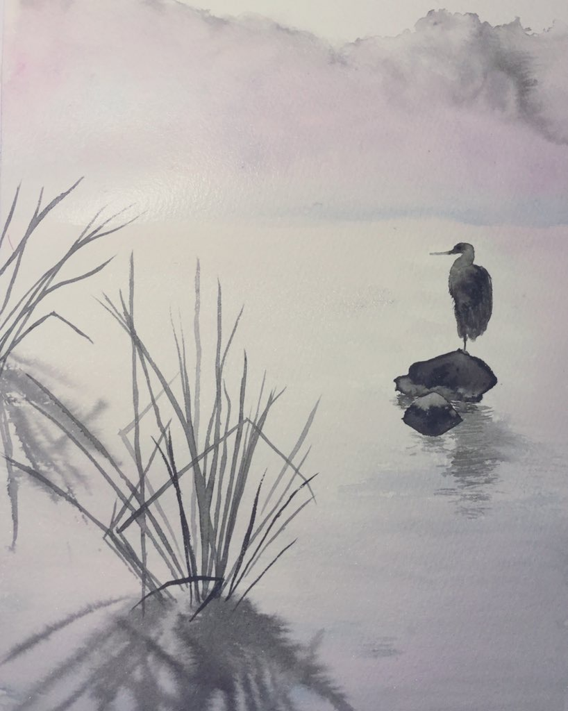 Heron on a lake, in Sumi-e style. A4FB0117-5F00-4F69-83F3-95CF0E6E7813