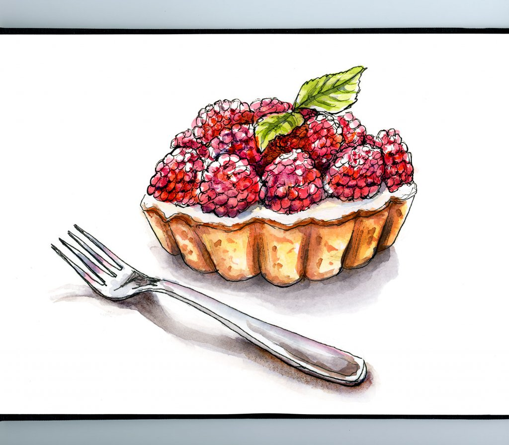 Raspberry Tart Watercolor Illustration Sketchbook Detail