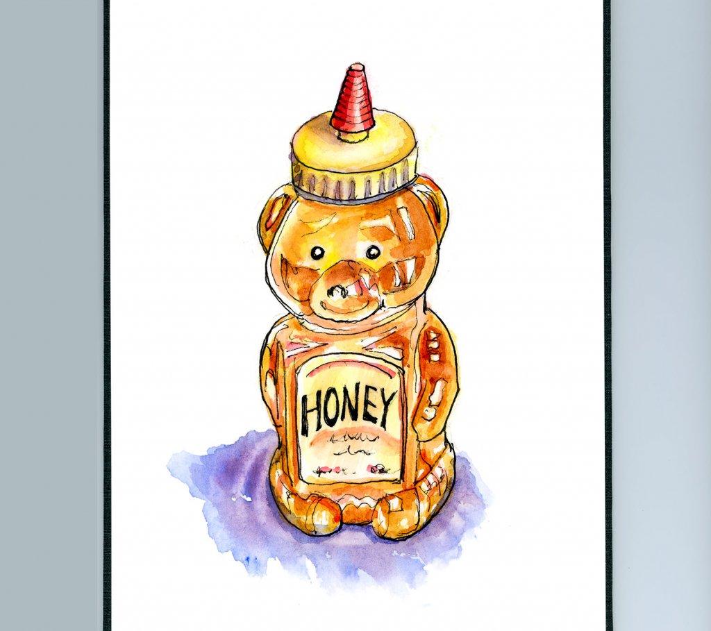 Honey Bear Bottle Watercolor Illustration Sketchbook Detail