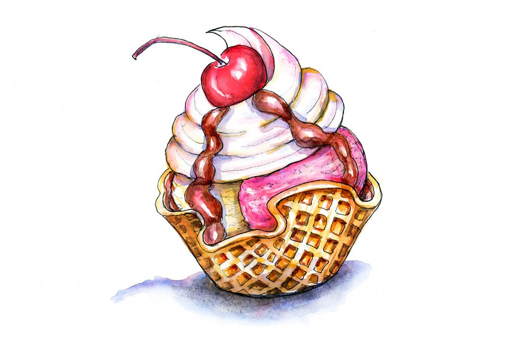 Waffle Cup Ice Cream Cherry Watercolor Illustration