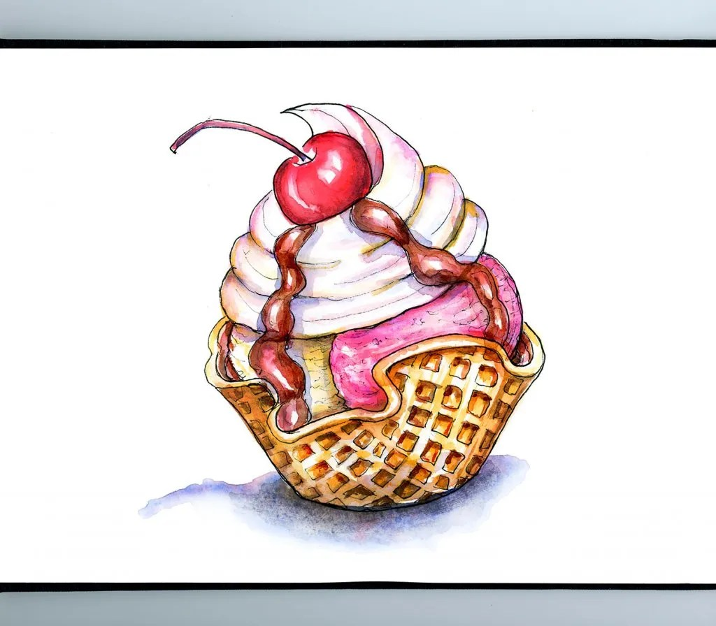 Waffle Cup Ice Cream Cherry Watercolor Illustration Sketchbook Detail