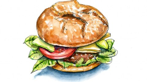 International Burger Hamburger Day Watercolor Illustration