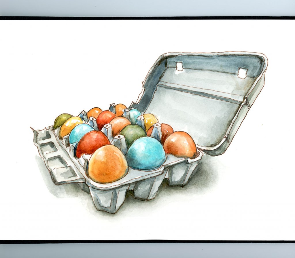 Farm Fresh Eggs Multiple Colors Watercolor Illustration Sketchbook Detail