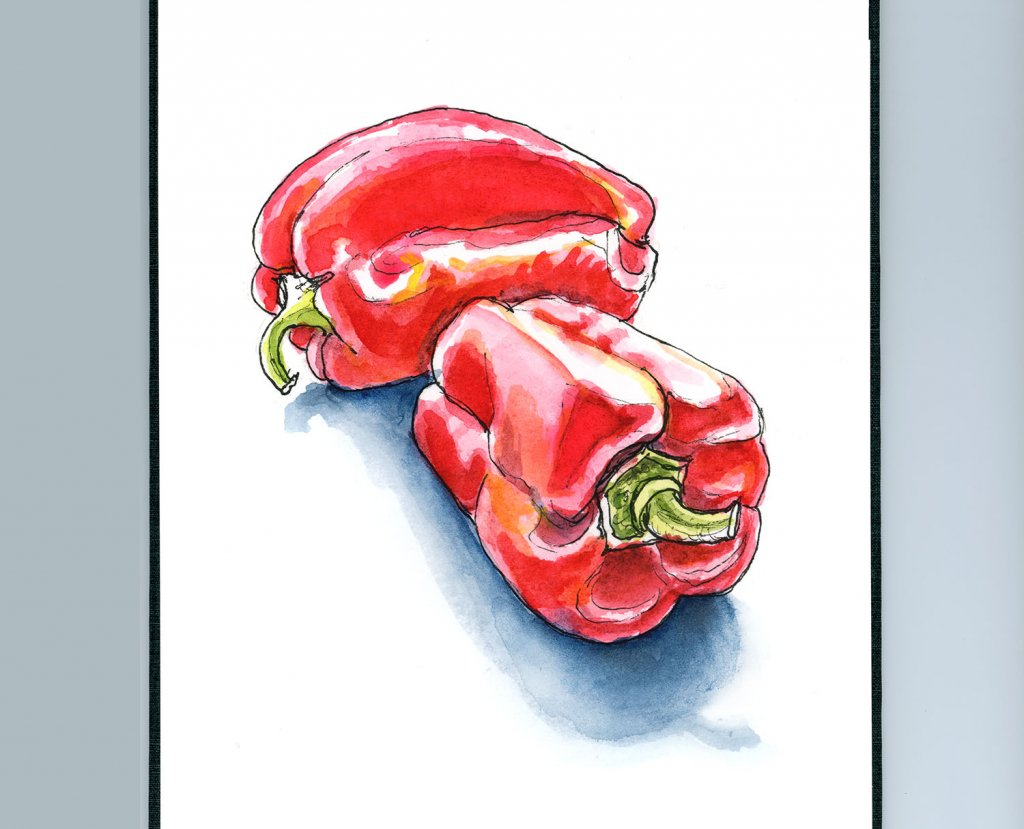 Red Bell Peppers Watercolor Illustration Sketchbook Detail