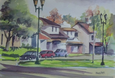 Houses And Cars Watercolor Painting