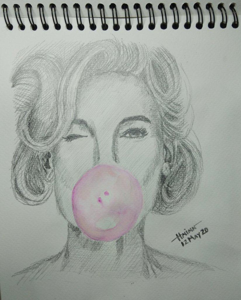 #doodlewashMay2020 #WorldWatercolorGroup #Beginner #12 #BubbleGum #12May2020 IMG_20200512_222014