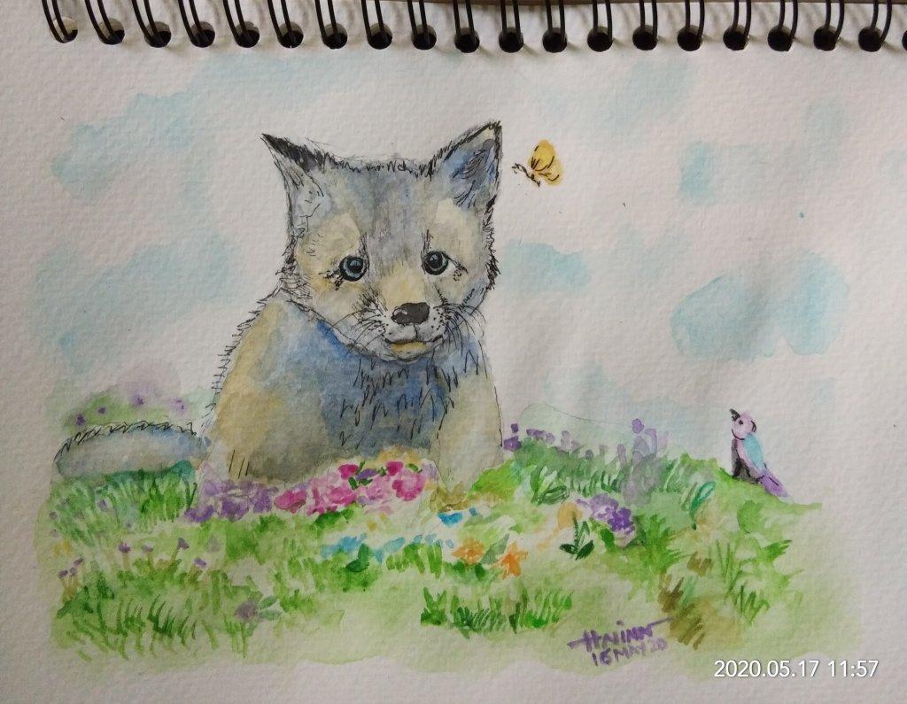 #doodlewashMay2020 #WorldWatercolorGroup #Beginner #16 #SilverFox #16May2020🎉 IMG_20200517_1