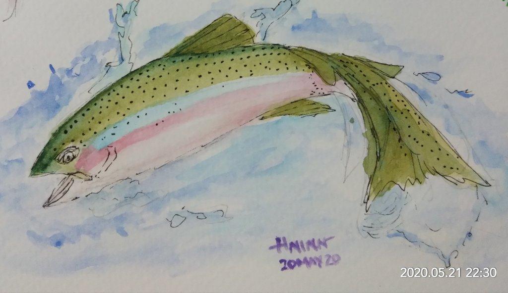 #doodlewashMay2020 #WorldWatercolorGroup #Beginner #19+20+21 #Blonde+Salmon+GreenApple #21May2020&#x