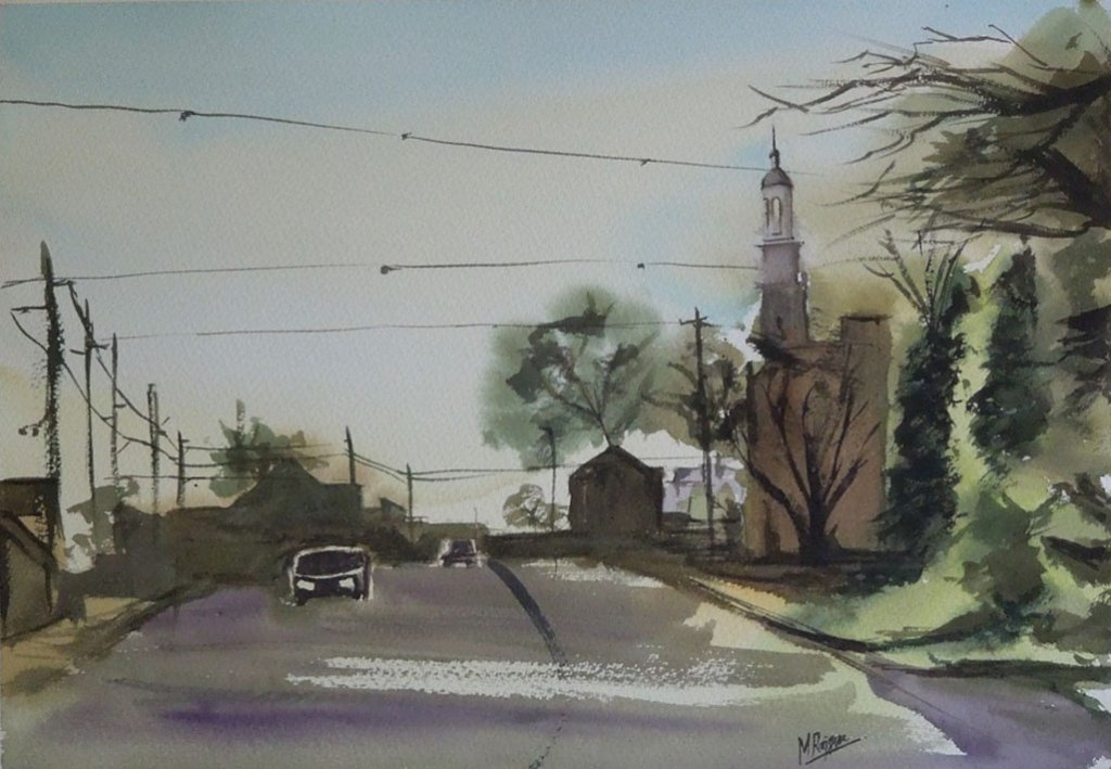 Street and Car Watercolor Painting by Manish Rajguru
