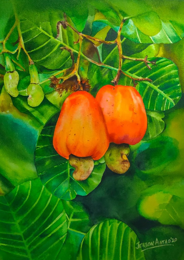 "Lockdown Trials! Sweet Summer ""Cashews"" Watercolour on Lanaquarelle Cold Pressed Paper ("