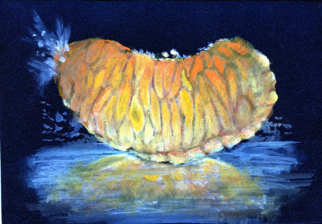 "Did you know that the name ""tangerine"" originates from Tangier, Morocco? Opaque Watercolor on St"