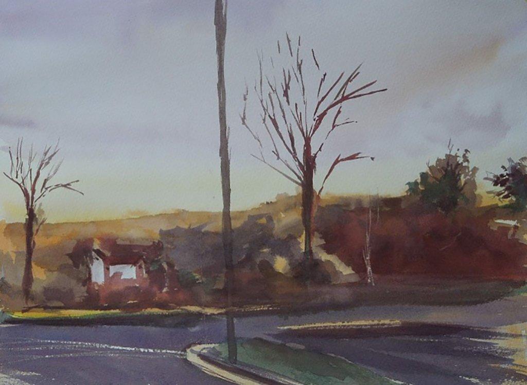 Watercolor Painting Street Scene