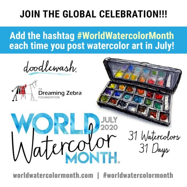 World Watercolor Month July 2020 REMINDER Badge Join the Global Celebration