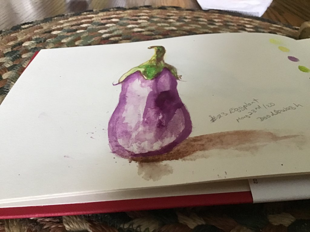 My eggplant WATERCOLOR for day #23 have been using pencil crayons up until now. It is a challenge bu