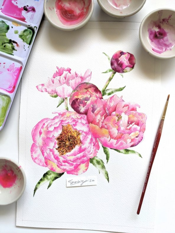 Watercolor Florals In Shades Of Pink