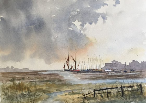Barges at Oare in Kent Watercolour Painting Brian Tucker