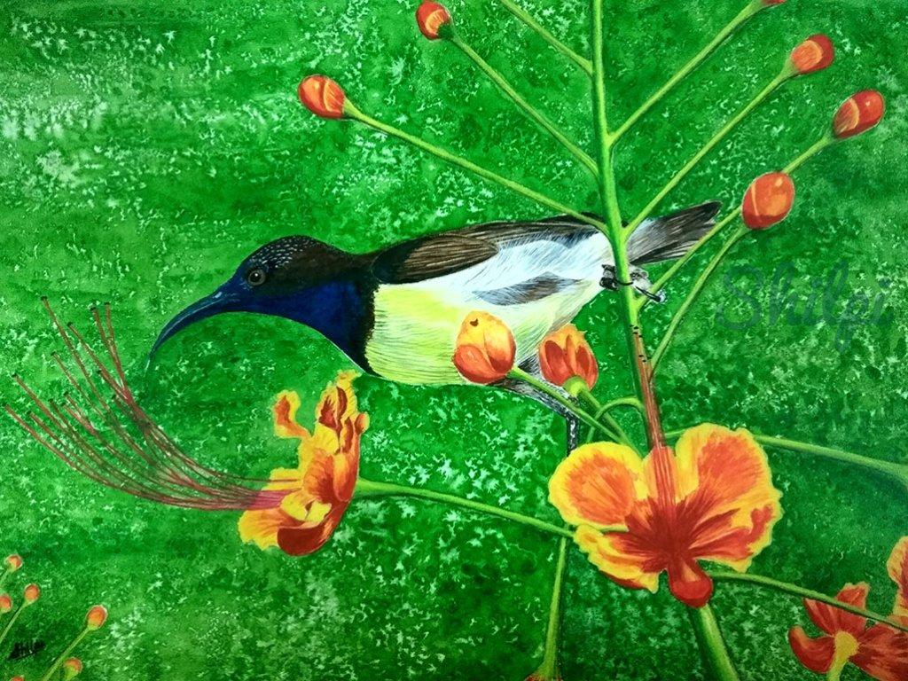 Bird and Orange Flowers Watercolor Painting