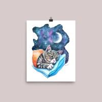 Tabby Cat Moon Galaxy Sleeping Watercolor Print Main Image