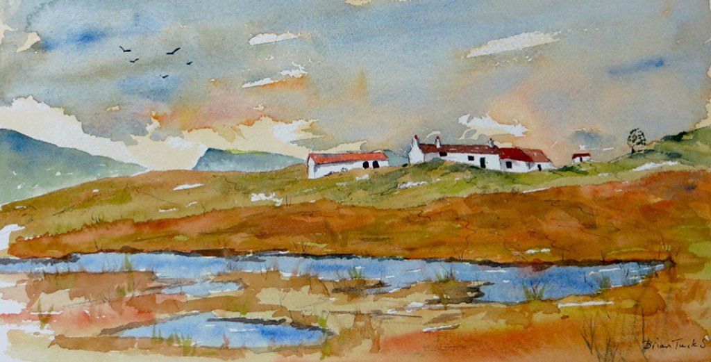 Cottages in Donegal in Ireland Watercolour scene