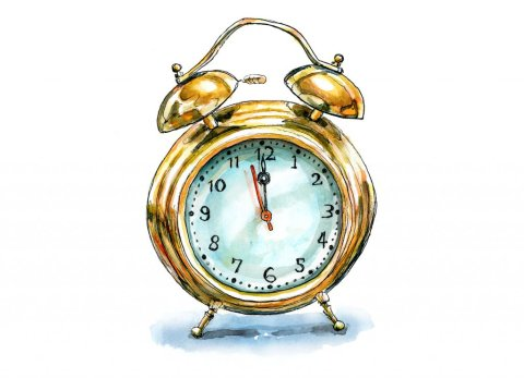 Vintage Alarm Clock Gold Watercolor Painting Illustration