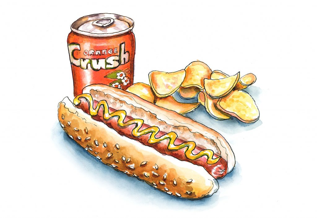 Hot Dog Potato Chips Orange Crush Watercolor Painting Illustration