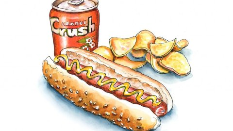 Hot Dog Potato Chips Orange Crush Watercolor Painting Illustration