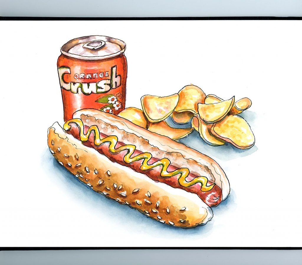 Hot Dog Potato Chips Orange Crush Watercolor Painting Illustration Sketchbook Detail