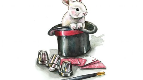Magic Hat Trick Rabbit Cards Wand Cups Watercolor Painting Illustration
