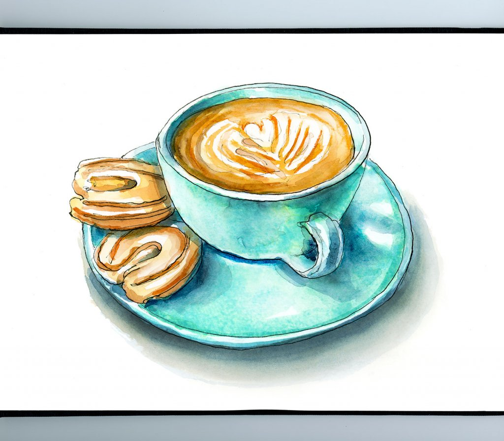 Cookies And Cappuccino Watercolor Painting Illustration Sketchbook Detail