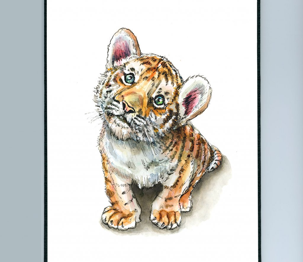 Tiger Cub Baby Sitting Watercolor Painting Illustration Sketchbook Detail