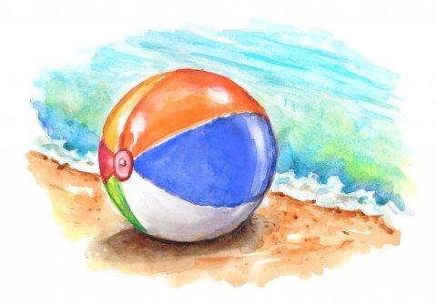 Beach Ball Ocean Sand Watercolor Painting