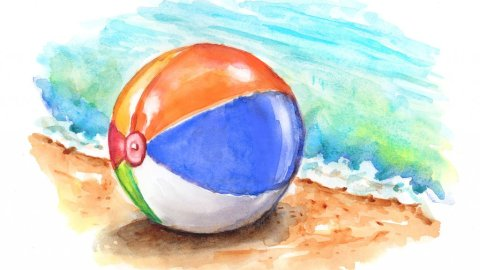 Beach Ball Ocean Sand Watercolor Painting