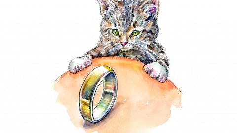 Kitten Cat Brass Ring Watercolor Painting Illustration
