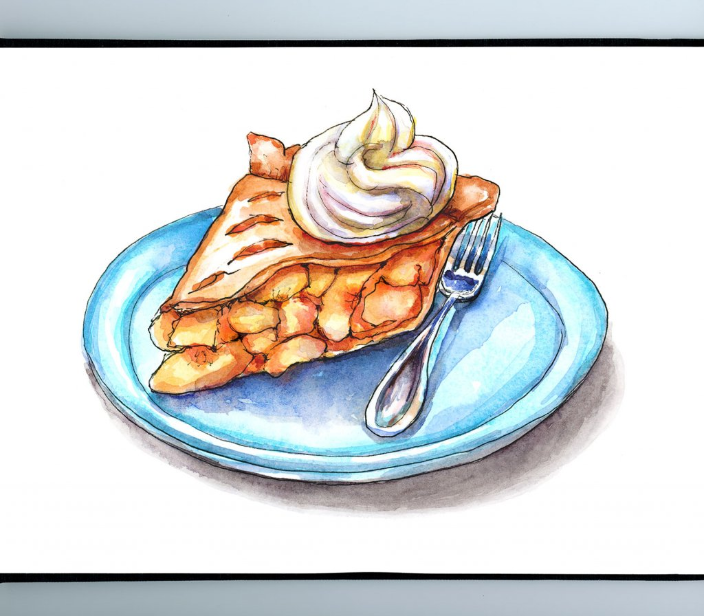 Peach Pie Slice Fork Plate Watercolor Painting Illustration Sketchbook Detail