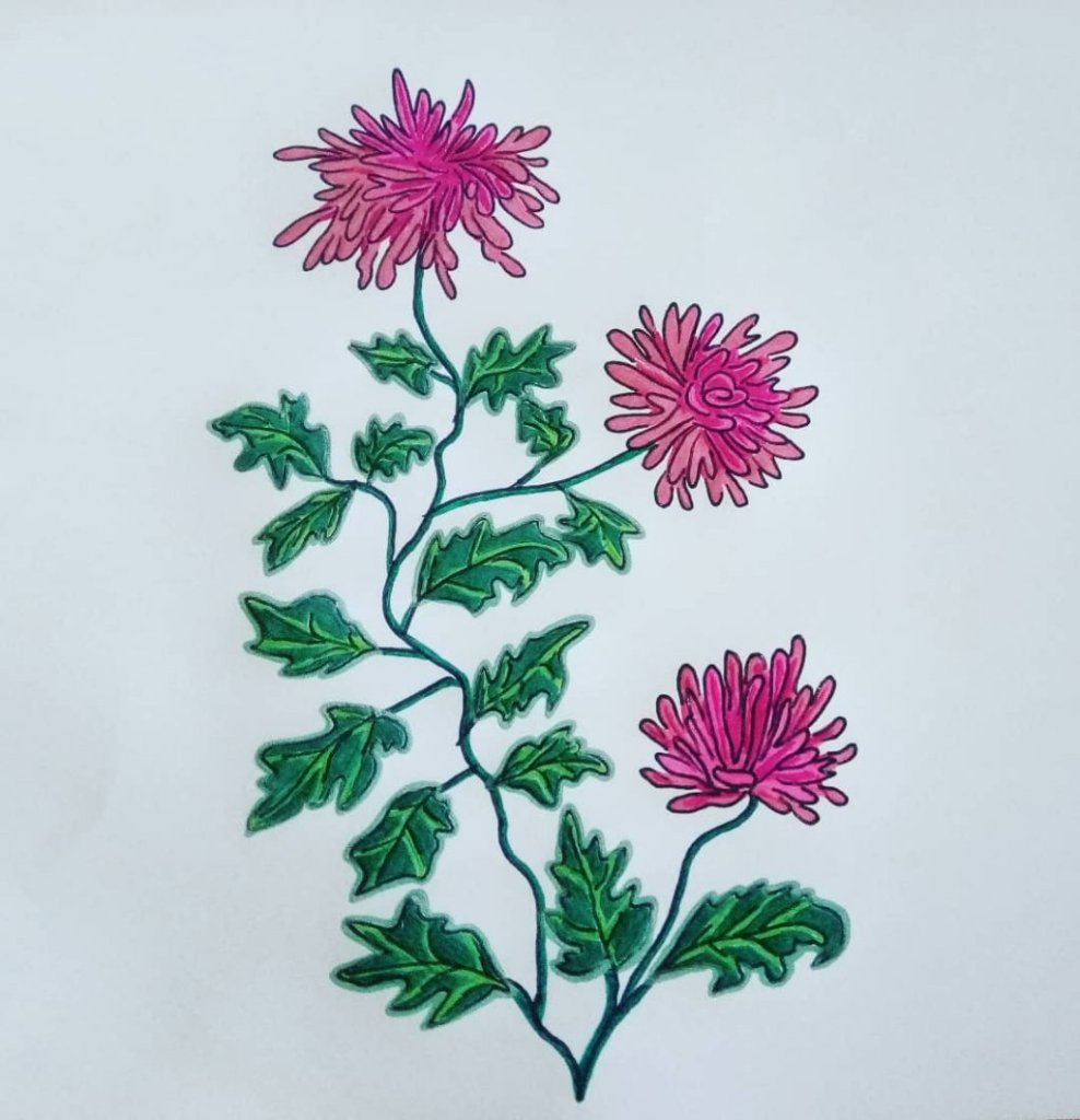 "for #doodlewashJune2020 prompt no.9 ""chrysanthemum"" I used #gelpens: @flexofficephilippines 0.5"