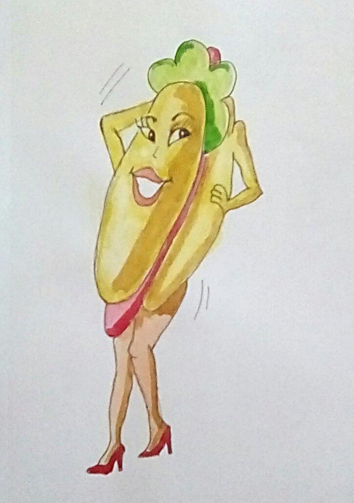 """Today's watercolor challenge """"Hotdog"""" IMG_20200613_191207_burst_01_kindlephoto-704"""