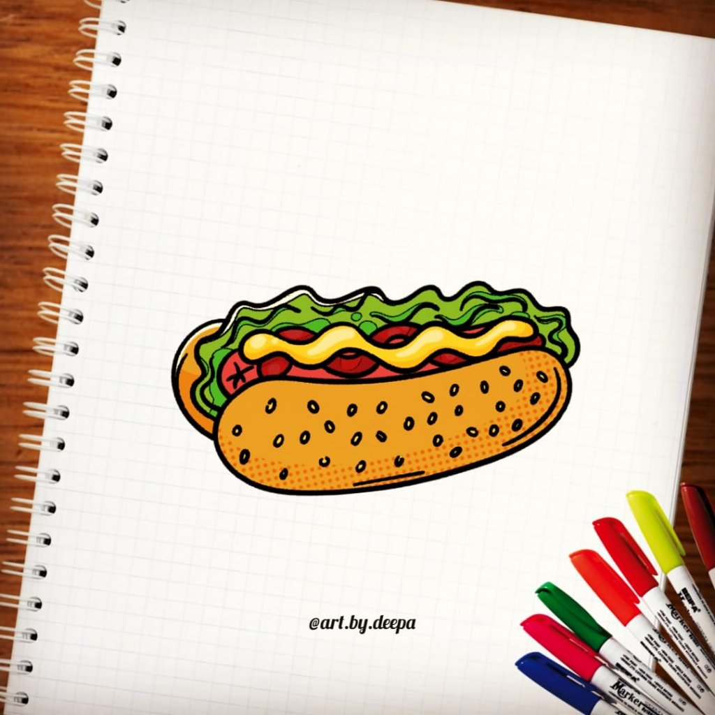 Day 13: Hot Dog #doodlewashjune2020 IMG_20200613_231527_061